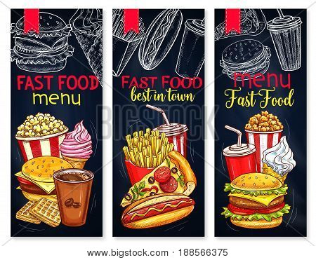 Fast food menu banners for restaurant or cafe. Vector combo set of popcorn, cheeseburger and coffee or waffles. Fastfood combo of french fries, hot dog and pizza or soda drink and ice cream dessert