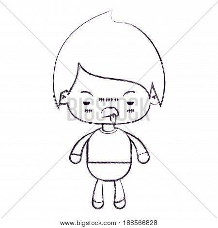 blurred thin silhouette of kawaii little boy with unpleasant facial expression vector illustration