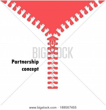 Zipper symbol and handshake businessman agreement on background.Shaking handssuccessful transaction.Partnershipbusiness deal and agreement concept.Vector illustration