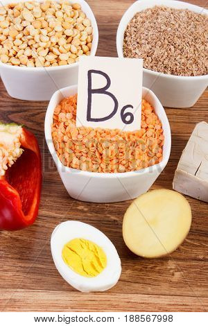 Products Or Ingredients Containing Vitamin B6 And Dietary Fiber, Concept Of Healthy Nutrition