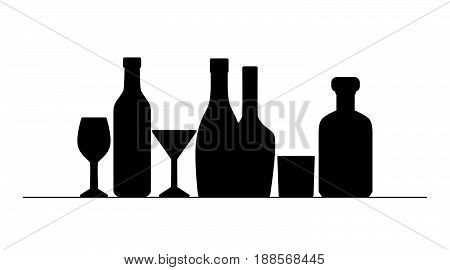 Black silhouettes of bottles and glasses. Element for menu wine list isolated. Bottle of champagne whiskey martini. Vector illustration.