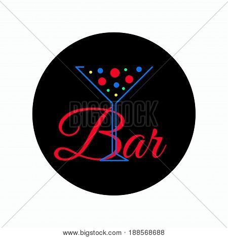 Logo cocktail with bubbles. Banner for bar. Icon martini glass. Vector illustration.
