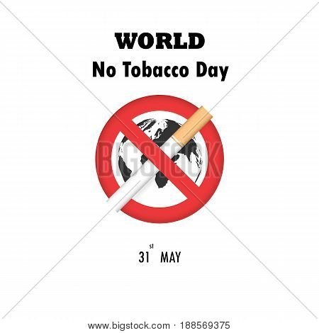 World map icon and Quit Tobacco sign.World no tobacco day.No Smoking Day Awareness.Vector illustration.