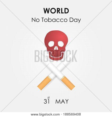 Human skull and Quit Tobacco sign.World no tobacco day.No Smoking Day Awareness.Vector illustration.