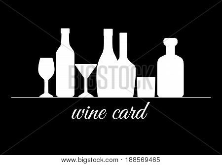 White silhouettes of bottles and glasses on black background. Element for menu wine list isolated. Bottle of champagne whiskey martini. Vector illustration.