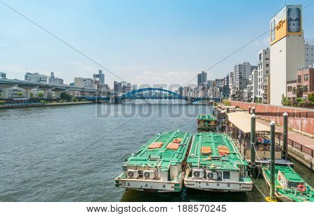 Tokyo Japan - May 5 2017: River Boats are docking on Sumida river side.