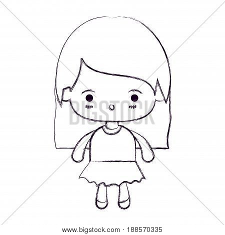 blurred thin silhouette of kawaii little girl with straight hair and facial expression surprised vector illustration