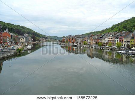 Meuse river at the beautiful town of Dinant, Wallonia region, Belgium