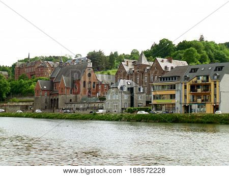 Gorgeous vintage architecture along the Meuse river at Dinant, Wallonia Region, Belgium
