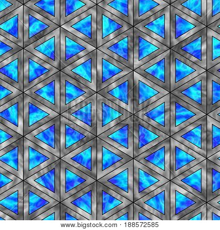 Creative Seamless Pattern of Holographic Triangles. Triangular Continuous Background of Geometric Figures.