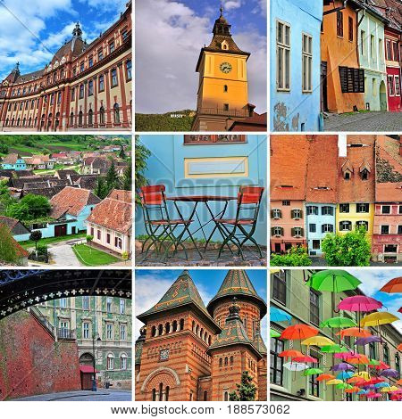 Romania travel collage. Set of colourful images Transylvania region cities and landmarks - Sibiu Sighisoara Timisoara Brasov