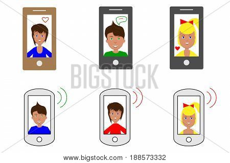 Set of six vector images of tablets and smartphones with cartoon faces of people flat icons.