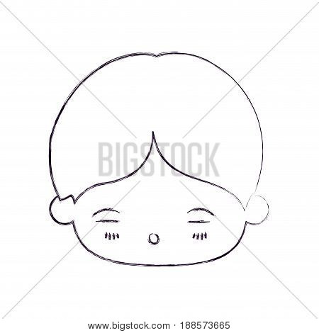blurred thin silhouette of kawaii head of little boy with facial expression of tired vector illustration