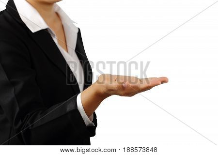 Open a businesswoman's hand palm up isolated on white background clipping path.