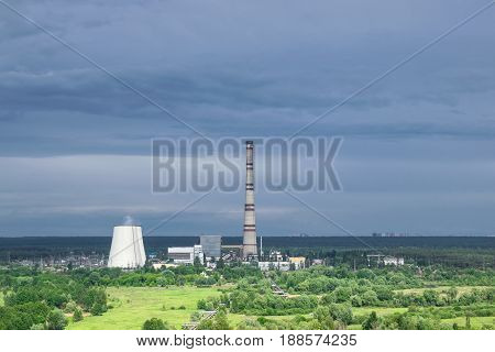 Aerial view to the heat power plant with a stormy sky