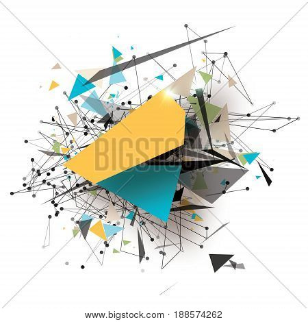Colorful Geometric Polygonal Art Elements. Abstract Explosion with polygonal triangles, rounds, lines. Concept Future Technology Design Template for flyers and posters, presentations. Vector