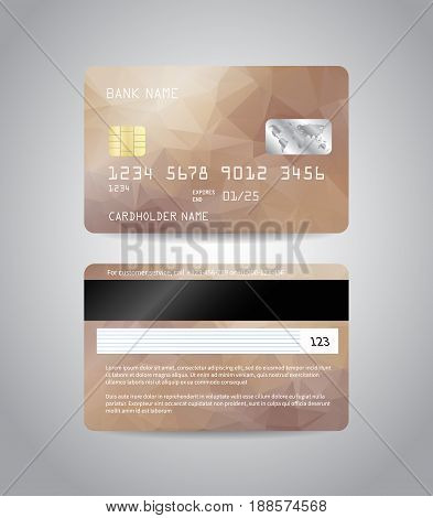 Realistic detailed credit cards set with colorful bronze beige abstract triangular design background. Bronze card. Front and back side template. Money, payment symbol. Vector illustration EPS10