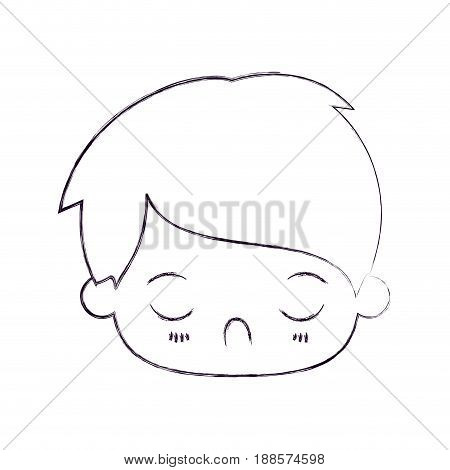 blurred thin silhouette of kawaii head of little boy with facial expression disgust with closed eyes vector illustration