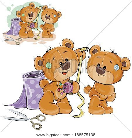 Vector illustration of a brown teddy bear tailor measuring another teddy bear measuring tape, needlework. Print, template, design element