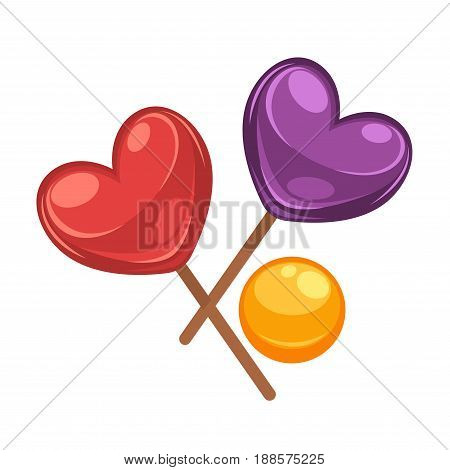 Colorful lollipops collection in shapes of heart and circle isolated on white. Vector illustration in flat design of tasty sweet candies in red, violet and yellow colors on sticks and without.