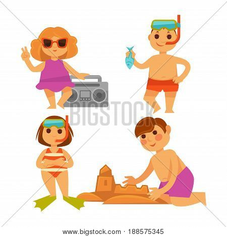 Four children having fun on hot summer vacations. Vector colorful illustration in flat design of little girls with tape recorder and in fins, small boys in diving glasses and making sand castle