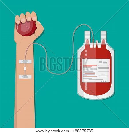 Blood bag and hand of donor with ball. Blood donation day concept. Human donates blood. Vector illustration in flat style.