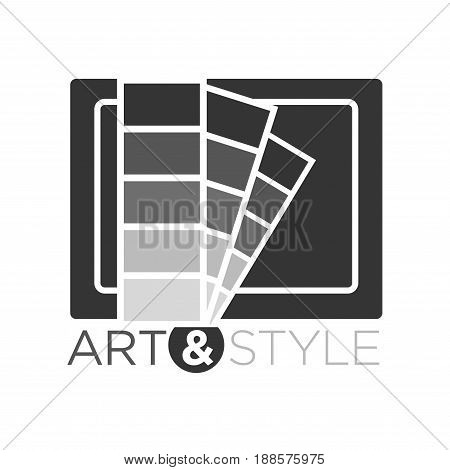 Art and style vector illustration in flat design of grey palette logotype. Creative badge presenting company dealing with decor, studio establishment. Colorless logo label isolated on white.