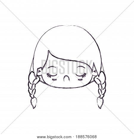 blurred thin silhouette of kawaii head little girl with braided hair and facial expression disgust vector illustration