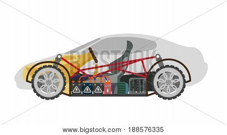 Electric car colorful inner building isolated on white. Ropes connecting all elements with driver s helm and seat, and wheels inside automobile. Fast eco mean of transportation vector illustration