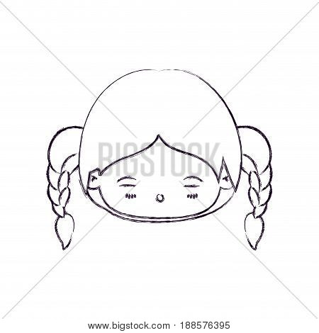blurred thin silhouette of kawaii head little girl with braided hair and facial expression tired vector illustration