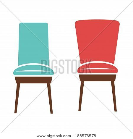 Soft comfortable chairs with upholstery of red and blue colors and dark brown wooden legs isolated vector illustrations on white background. Room furniture for comfort and interior decoration.