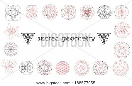 Set sacred geometry abstract elements vector set isolated on black background.