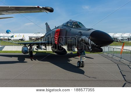 BERLIN GERMANY - MAY 21 2014: McDonnell Douglas F-4 Terminator 2020 Phantom II Turkish Air Force. Exhibition ILA Berlin Air Show 2014