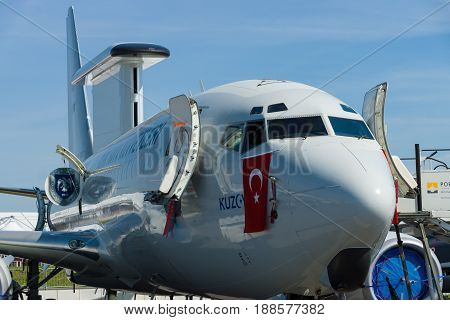 BERLIN GERMANY - MAY 21 2014: Airborne early warning and control Boeing B737 AEWC Turkish Air Force. Exhibition ILA Berlin Air Show 2014