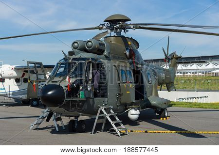 BERLIN GERMANY - MAY 21 2014: Multi-purpose helicopter Eurocopter AS332 Super Puma. Swiss Air Force. Exhibition ILA Berlin Air Show 2014