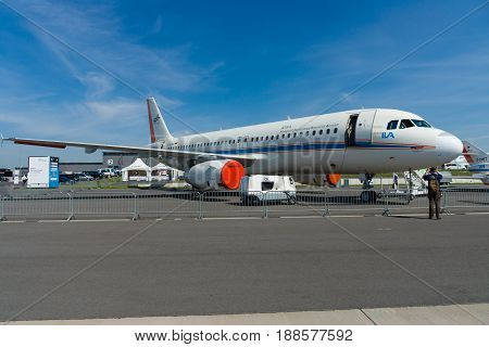 BERLIN GERMANY - MAY 21 2014: Airplane German Aerospace Center (DLR) - Airbus A320-232 ATRA (Advanced Technology Research Aircraft). Exhibition ILA Berlin Air Show 2014