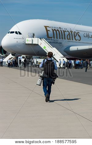 BERLIN GERMANY - MAY 21 2014: The largest passenger airliner in the world Airbus A380. Emirates Airline. Exhibition ILA Berlin Air Show 2014