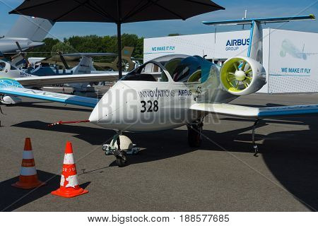 BERLIN GERMANY - MAY 21 2014: A prototype electric aircraft being developed by Airbus Group - Airbus E-Fan. Exhibition ILA Berlin Air Show 2014