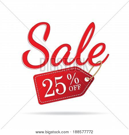 Vol.3 Sale Sign Set Red On White Background 25 Percent Off Heading Design For Banner Or Poster. Sale