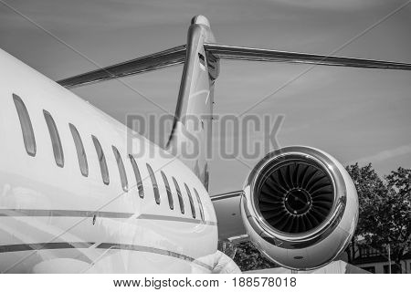 BERLIN GERMANY - MAY 21 2014: Detail of a business jet Bombardier Global 5000. Black and white. Exhibition ILA Berlin Air Show 2014