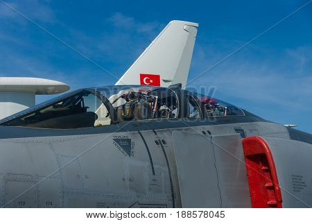 BERLIN GERMANY - MAY 21 2014: Cockpit Aircraft McDonnell Douglas F-4 Terminator 2020 Phantom II Turkish Air Force. Exhibition ILA Berlin Air Show 2014