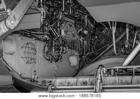 BERLIN GERMANY - MAY 21 2014: Service compartment aircraft Airbus A310 Multi Role Tanker Transport (MRTT). Black and white. German Air Force. Exhibition ILA Berlin Air Show 2014