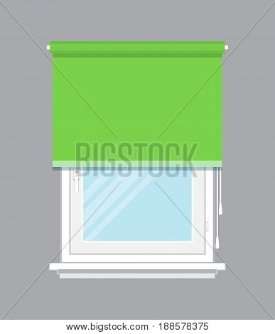 Plastic window with green roller blind isolated vector illustration. Architectural detail, window treatment, creative home interior object, building element in flat style