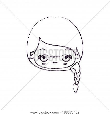 blurred thin silhouette of kawaii head cute little girl with braided hair and embarrassed facial expression vector illustration