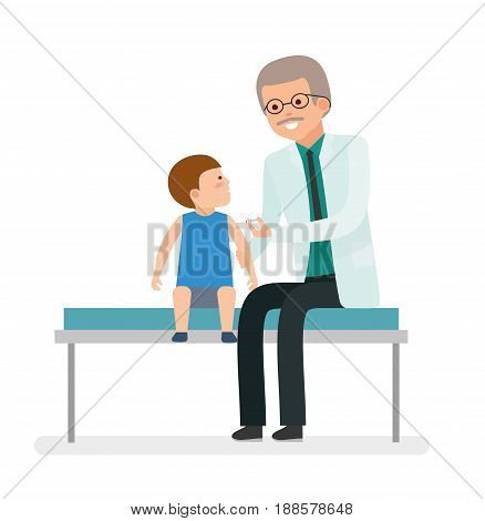 A visit to the doctor. Caring for the health of the child. Vaccination. The pediatrician makes a shot boy patient. Family doctor. Vector illustration in a flat style