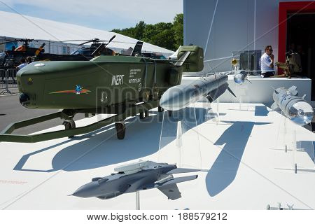 BERLIN GERMANY - MAY 21 2014: A German - Swedish air-launched cruise missile Taurus KEPD 350. German Air Force. Exhibition ILA Berlin Air Show 2014