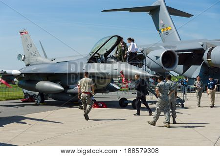 BERLIN GERMANY - MAY 21 2014: Lockheed Martin F-16 Fighting Falcon US Air Force. Exhibition ILA Berlin Air Show 2014
