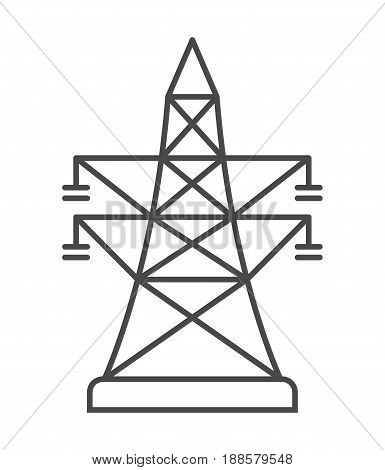 High-voltage power line icon isolated on white background vector illustration. Electrical industry, power transmission tower pictogram.