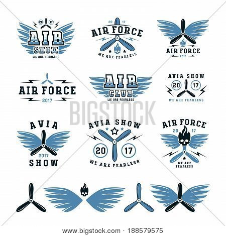 Set of air force and air show emblem and icons. Color print on white background