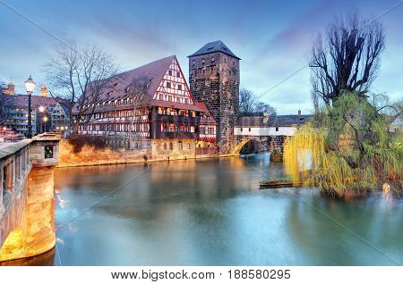 Nuremberg town Germany The riverside of Pegnitz river poster